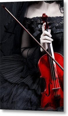 Woman With Red Violin Metal Print