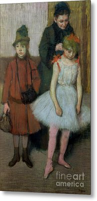 Woman With Two Little Girls Metal Print by Edgar Degas