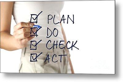 Woman Writing Plan Do Check Act Metal Print