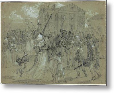 Women And Children Greet Their Loved Metal Print by Everett