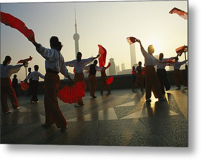 Women Exercise In The Morning By Fan Metal Print