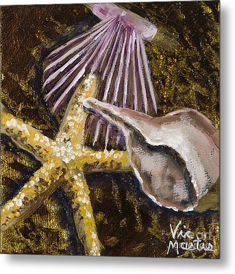Wonderful Shells And Starfish With Gold Leaf By Vic Mastis Metal Print by Vic  Mastis