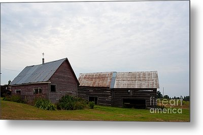 Metal Print featuring the photograph Wood And Log Sheds by Barbara McMahon