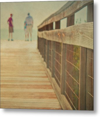 Wood And Mesh Bridge Metal Print by Lynda Murtha