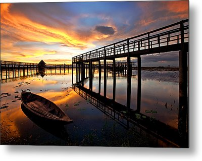 Wood Bridge In Sunset Thailand Metal Print by Arthit Somsakul