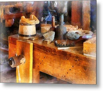 Wood Shop With Wooden Bucket Metal Print by Susan Savad