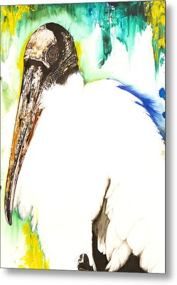 Metal Print featuring the mixed media Wood Stork by Anthony Burks Sr