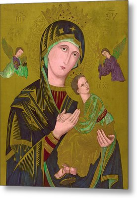 Woodcut Of The Virgin Mary, Titled S Metal Print by Everett