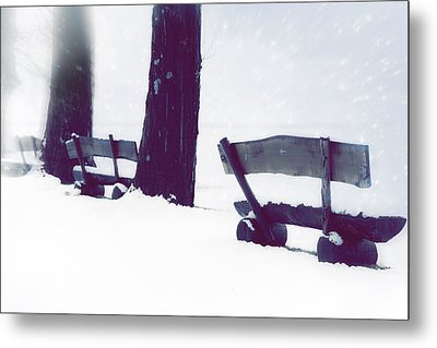 Wooden Benches In Snow Metal Print by Joana Kruse