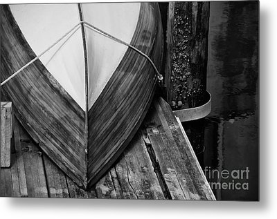 Wooden Boat On The Dock Metal Print by Wilma  Birdwell