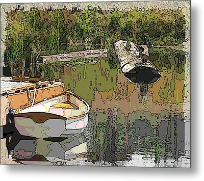 Wooden Boat Placid Metal Print by Tim Allen