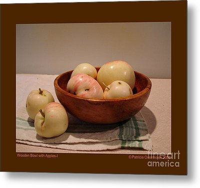Wooden Bowl With Apples-i Metal Print by Patricia Overmoyer