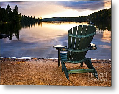 Wooden Chair At Sunset On Beach Metal Print by Elena Elisseeva