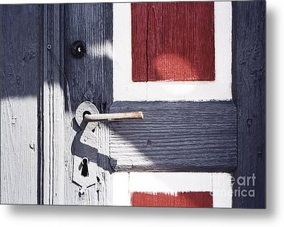 Metal Print featuring the photograph Wooden Doors With Handle In Blue by Agnieszka Kubica