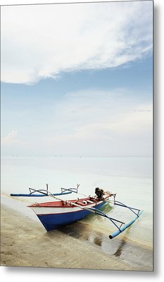 Wooden Outrigger Boat On Shore Metal Print by Carlina Teteris