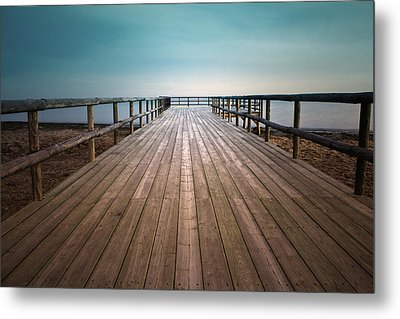 Wooden Pier Metal Print by Christian Callejas