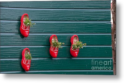 Metal Print featuring the digital art Wooden Shoes On Teh Wall by Carol Ailles