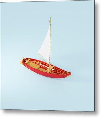 Wooden Toy Sailing Boat Metal Print by Jon Boyes