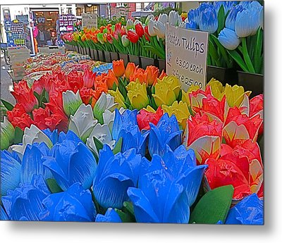 Wooden Tulips Metal Print