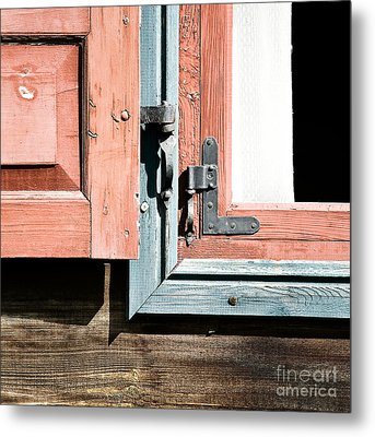 Metal Print featuring the photograph Wooden Windows Shutters In Coral by Agnieszka Kubica