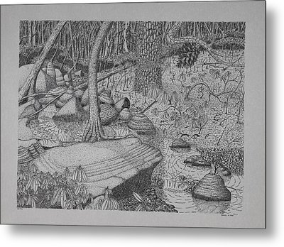 Woodland Stream Metal Print