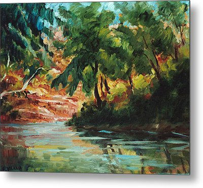 Woodland Stream Metal Print by Ethel Vrana