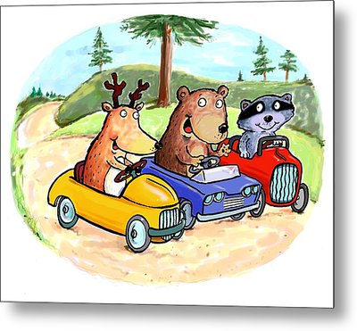 Woodland Traffic Jam Metal Print
