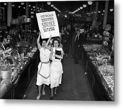 Woolworth Workers Go On Strike In New Metal Print by Everett