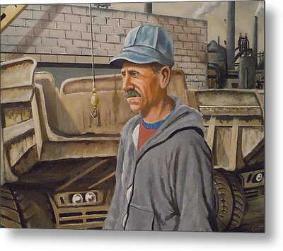 Metal Print featuring the painting Worker At U.s.s.mill Station 108 by James Guentner