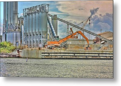 Working By The Bay Metal Print by Elizabeth Spencer