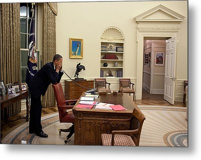 Working Late President Barack Obama Metal Print by Everett