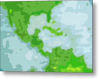 World Map - Central America-caribbean-southern United States Metal Print by Steve Ohlsen