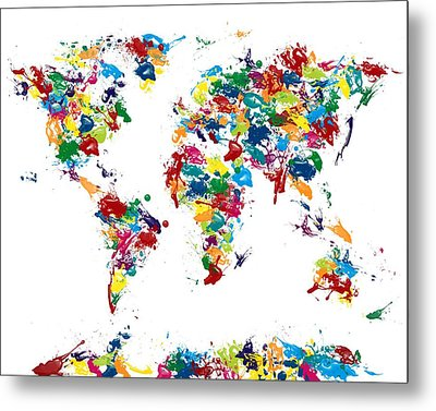 World Map Glossy Paint 16 X 20 Metal Print by Michael Tompsett
