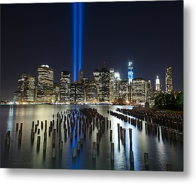 World Trade Center Tribute From The Pier Metal Print