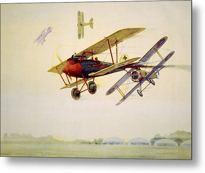World War I Air Battle In Which Metal Print by Everett