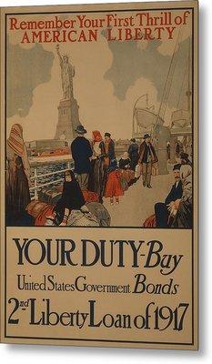 World War I Poster Aimed At Recent Metal Print by Everett