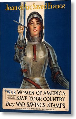 World War I, Poster Showing Joan Of Arc Metal Print by Everett