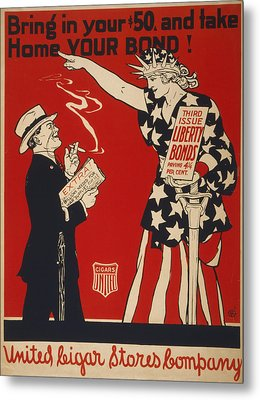 World War I, Poster Showing Liberty Metal Print by Everett