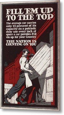 World War I, Poster Showing Men Loading Metal Print by Everett