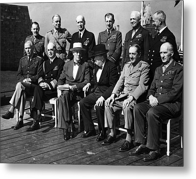 World War II. Seated, From Left George Metal Print by Everett