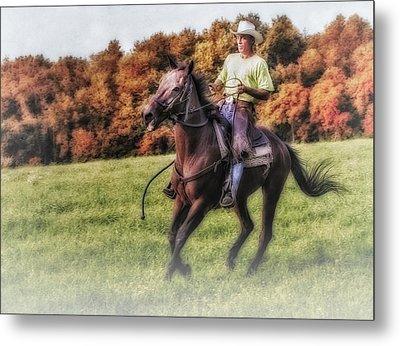 Wrangler And Horse Metal Print by Susan Candelario