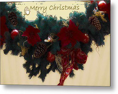 Wreath Garland Greeting Metal Print by DigiArt Diaries by Vicky B Fuller