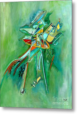 Contemporary Green Colorful Plane Abstract Composition Metal Print by Marie Christine Belkadi