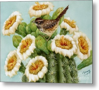Wren And Saguaro Blossoms  Metal Print by Summer Celeste