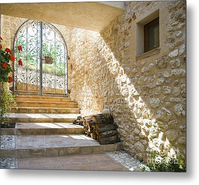 Wrought Iron Gate And Stairs Metal Print by Andersen Ross