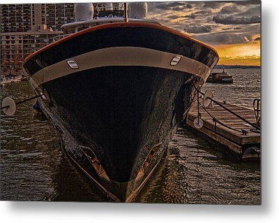 Yacht On The Sunset Metal Print by Alex AG
