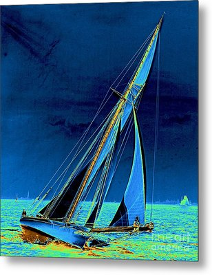 Yacht Shamrock In New York Harbor 1895 Metal Print by Padre Art