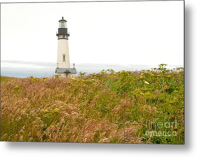 Metal Print featuring the photograph Yaquina Head Lighthouse In Oregon by Artist and Photographer Laura Wrede