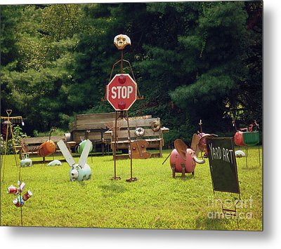 Metal Print featuring the photograph Yard Art Stop by Renee Trenholm