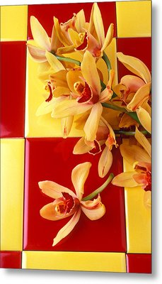 Yellow And Red Orchids  Metal Print by Garry Gay